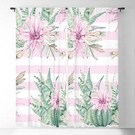 Rose Stripe Succulents - Pink and Mint Green Cactus Pattern Blackout Curtain