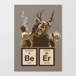 Funny chemistry bear discovered beer Canvas Print
