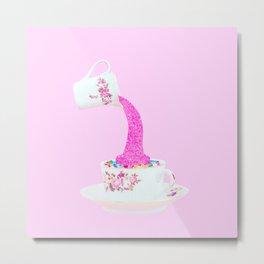 Glitter Tea Party Metal Print