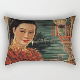 Vintage Chinese Movie Poster Rectangular Pillow