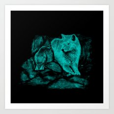 Wolf and Raven in the Night Art Print