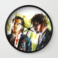 pulp fiction Wall Clocks featuring Pulp Fiction by Miquel Cazanya