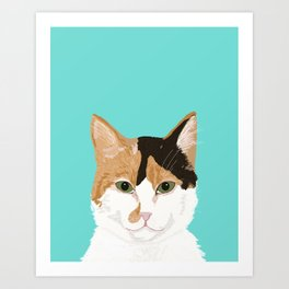 Calico Cat - Cute cat black, white, tan, orange tabby cat, cute kitten Art Print