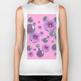 PINK-PURPLE FLOATING HOLLYHOCKS & SOAP BUBBLES PINK  ART Biker Tank