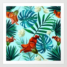 Tropical Leaves and Flowers on Teal Background Art Print