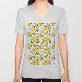 Yellow green white watercolor hand painted floral Unisex V-Neck