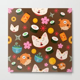 Kawaii Kitty Loves Fugu and Sushi Cute Pattern Design Metal Print