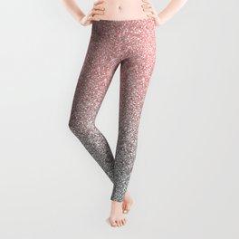 Girly Rose Gold & Silver Ombre Glitter Design Leggings