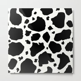 black and white animal print cow spots Metal Print