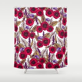 Red Poppies & Purple Flowers - Floral/Botanical Print Shower Curtain