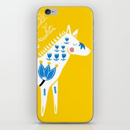 Folk horse on yellow iPhone Skin