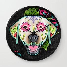Labrador Retriever - Yellow Lab - Day of the Dead Sugar Skull Dog Wall Clock