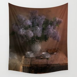 When the rain comes - still life with fresh lilacs and china set Wall Tapestry