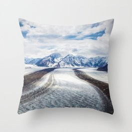 Snow Path Mountains Throw Pillow