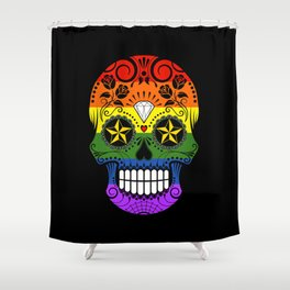Gay Pride Rainbow Flag Sugar Skull with Roses Shower Curtain