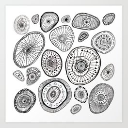 Black and White Eggs Art Print