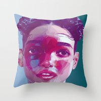 fka twigs Throw Pillows featuring FKA Twigs Low Poly Collection by Giselle LowPoly