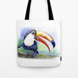 Toucan watercolor illustration, aquarelle art bird Tote Bag