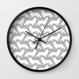 Grey and White Welsh Corgi Silhouettes Pattern Wall Clock