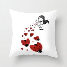 Little girl and ladybugs Throw Pillow