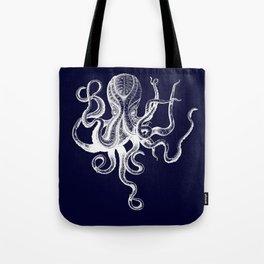 Vintage Octopus Blue Tote Bag