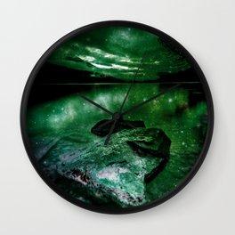 Magical Mountain Lake Deep Green Wall Clock