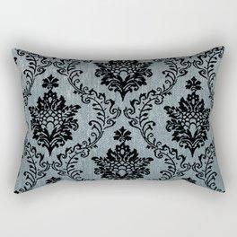 Teal black damask pattern, art nouveau pattern, victorian pattern, vintage pattern, elegant,chic,bea Rectangular Pillow