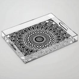 Detailed Black and White Mandala Acrylic Tray