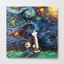 Calvin and Hobbes Vincent van Gogh Starry Night Painting Metal Print