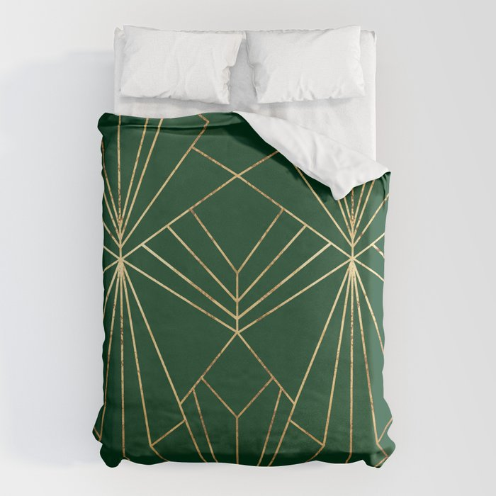 Art Deco in Gold & Green - Large Scale Bettbezug