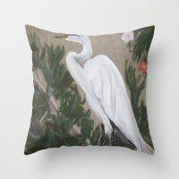 crane Throw Pillows featuring Crane by Lark Nouveau Studio