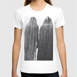 Woman of the Mbalantu African Tribe and Their Traditional Floor-Length Natural Braided Hair black and white photograph T-shirt