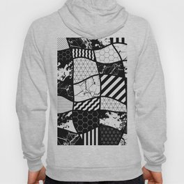 Crazy Patchwork (Abstract, black and white, geometric designs) Hoody