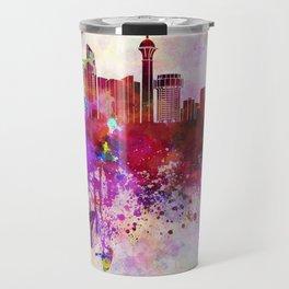 Jeddah skyline in watercolor background Travel Mug