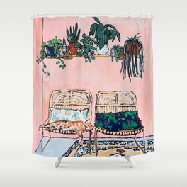 Two Chairs and a Napping Ginger Cat Shower Curtain