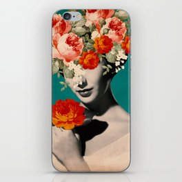 WOMAN WITH FLOWERS iPhone Skin