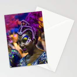Costumed Attractive Dancer Woman at Carnival Parade of Uruguay Stationery Cards