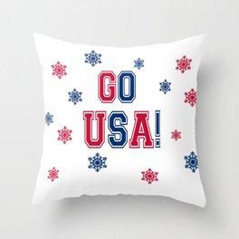 Winter Games - Go USA! Throw Pillow