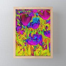 Neon Tulips Framed Mini Art Print