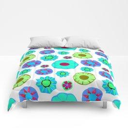 Flower Pattern-Teal Comforters