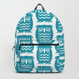 Mid Century Owl Pattern Turquoise Backpack