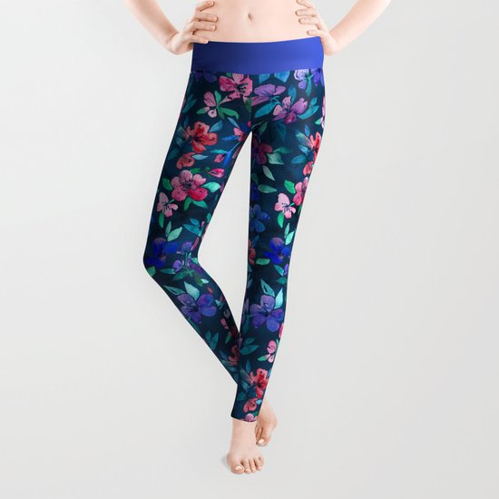 Southern Summer Floral - navy + colors Leggings