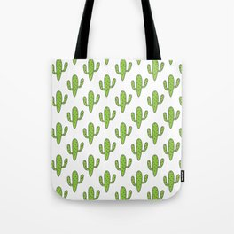 Hand painted green black white floral cactus Tote Bag