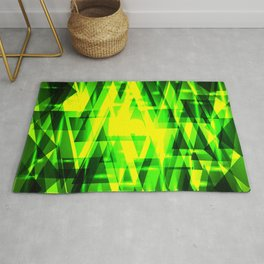 Luxurious green triangles and metal stripes of grass create abstraction and glow. Rug