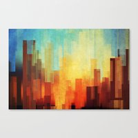 white Canvas Prints featuring Urban sunset by SensualPatterns