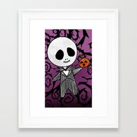 jack skellington Framed Art Prints featuring Jack Skellington by Lunette