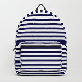 Navy Blue & White Maritime Small Stripes- Mix & Match with Simplicity of Life Backpack