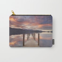 Flooded jetty in Derwent Water, Lake District, England at sunset Carry-All Pouch