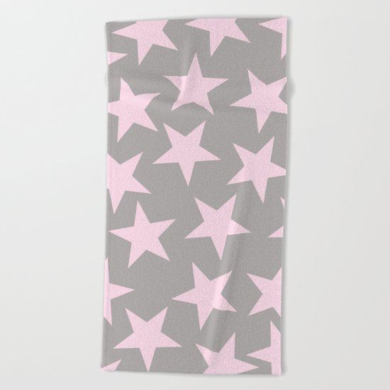 Pink stars on grey background on #Society6 Beach Towel