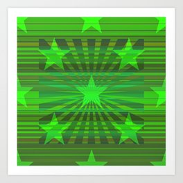 Starry Lime Radiance Art Print